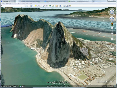 Rock of Gibraltar: Google Earth View